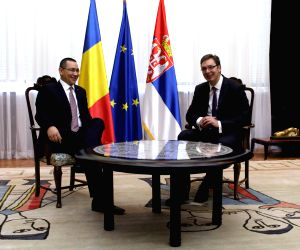 Romanian Prime Minister Victor Ponta meets with his Serbian counterpart Aleksandar Vucic in Belgrade, Serbia
