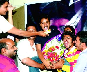 Sanchari Vijay celebrates best actor award