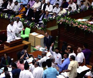 BJP and JD(S) MLAs protest in Karnataka assembly