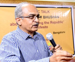 Bengaluru: Eminent lawyer Prashant Bhushan during a programme at Press Club in Bengaluru on March 30, 2019. (Photo: IANS)