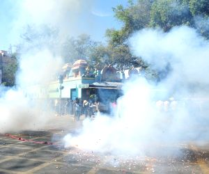 :Bengaluru: Kannada activists celebrate Supreme Court's verdict on Cauvery water sharing between Karnataka and Tamil Nadu, in Bengaluru on Feb 16, 2018. A bench of Chief Justice Dipak Misra, ...