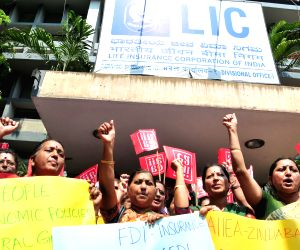 LIC workers' demonstration