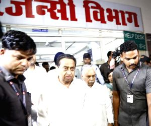 Bhopal: Madhya Pradesh Chief Minister Kamal Nath who was suffering from trigger finger, leaves after undergoing a successful operation at the Hamidia Hospital in Bhopal on June 22, 2019. Generally people belonging to the affluent class including poli