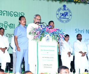 Bhubaneswar: Biju Janata Dal (BJD) President Naveen Patnaik takes oath as the Chief Minister of Odisha for a fifth consecutive term after being re-elected with a decisive majority in the Assembly elections; at a swearing-in ceremony in Bhubaneswar, o
