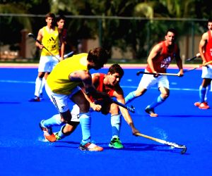 Argentine Hockey team during a practice session at Kalinga Stadium