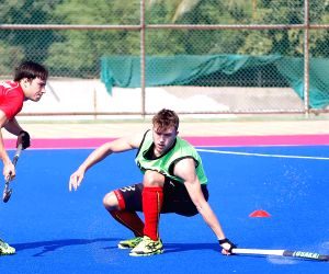 Belgian Hockey team during a practice session at Kalinga Stadium