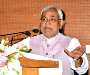 Bihar Chief Minister Nitish Kumar addresses during a programme, in Patna, on Oct 5, 2018.
