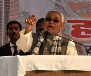 Bihar Chief Minister Nitish Kumar addresses during a programme in Bihar's Madhubani district, on Jan 19, 2019.