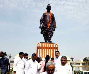 Bihar Chief Minister Nitish Kumar after paying homage to Bihar Vibhuti Augraha Narayan Singh on his birth anniversary, in Patna, on June 18, 2019.