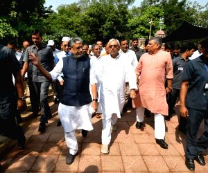 Bihar Chief Minister Nitish Kumar and Deputy Chief Minister Sushil Kumar Modi lead a march organised on Gandhi Jayanti -birth anniversary of Mahatma Gandhi- in Patna on Oct 2, 2018.