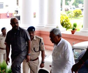 Nitish Kumar arrives to attend a Cabinet Meeting