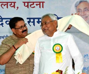 Bihar Chief Minister Nitish Kumar being facilitated during a programme in patna, on June 18, 2018.
