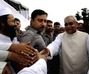 Nitish Kumar celebrates Eid at Gandhi Maidan