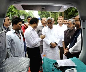 Bihar CM, Dy CM and Health Minister during the launch of ambulance services