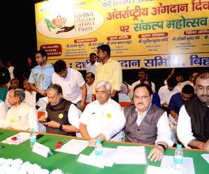 Bihar Chief Minister Nitish Kumar, Deputy Chief Minister Sushil Kumar Modi and Union Ministers J.P. Nadda and Ashwini Kumar Choubey and Bihar Cabinet Minister Mangal Pandey during a programme ...