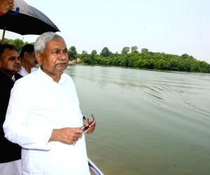 Bihar Chief Minister Nitish Kumar during his visit to inspect Chandan dam, in Bihar's Banka district on June 19, 2018.