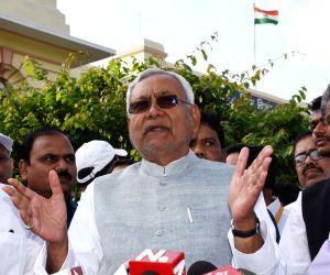 Nitish Kumar talks to the media at Bihar Assembly