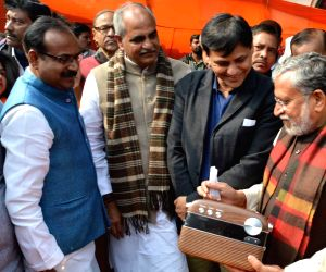 """Sushil Kumar Modi, Mangal Pandey, Nityanand Rai during """"Mann Ki Baat"""