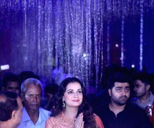 Birati (West Bengal): Dia Mirza visits Kali Puja pandal