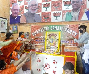 BJP activists offer prayers to Lord Ram to mark Ram Temple 'Bhumi Pujan' in Ayodhya