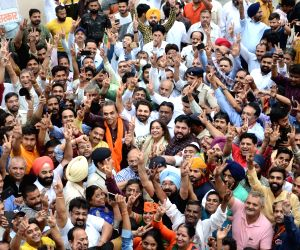 BJP candidate from Chandigarh Lok Sabha seat, Kirron Kher celebrates her performance in the recently concluded 2019 Lok Sabha elections in Chandigarh on May 23, 2019.