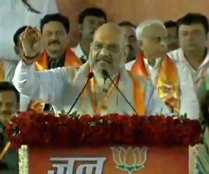 "BJP chief Amit Shah addresses during ""Jan Ashirwad Yatra"", in Madhya Pradesh's Ujjain on July 14, 2018."