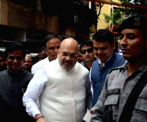 Amit Shah arrives to attend a BJP meeting