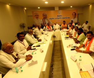 BJP chief Amit Shah during a party meeting in Hyderabad on July 13, 2018.