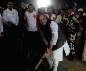 Amit Shah tries his hands at batting
