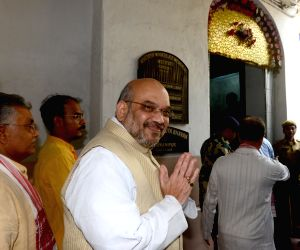 Amit Shah visits SP Mukherjee's residence