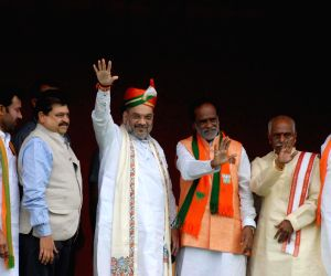 Amit Shah arrives in city