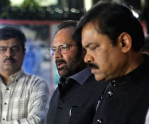 :BJP delegation comprising Mukhtaar Abbas Naqvi, Sunil Deodhar, GVL Narasimha Rao, Om Pathak and others coming out after meet Election Commission of India (ECI) at Nirvachan Sadan in New Delhi on Monday on April 05, 2021 Source : IANS_WS