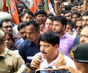 BJP leader Arjun Singh addresses party workers during a demonstration in West Bengal's Bhatpara, on June 1, 2019. The demonstration comes in the wake of a baton charge carried out by the ...