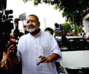 Giriraj Singh arrives at S K Puri police station