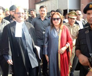BJP leader Jaya Prada and her counsel and Former SP leader Amar Singh come out after the hearing of the former's petition seeking the disqualification of Samajwadi Party (SP) MP Mohd Azam ...