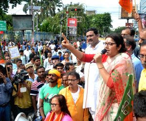 BJP workers block road