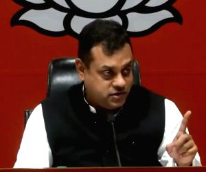 BJP leader Sambit Patra addresses a press conference, in New Delhi, on March 24, 2019.