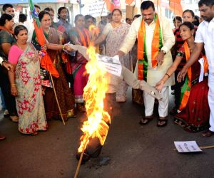 BJP Mahila Morcha burn effigies of Tarun Tejpal