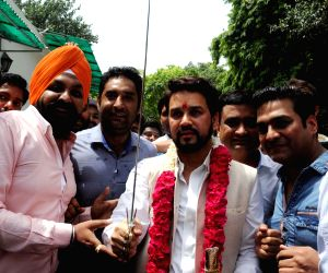 Celebrations at Anurag Thakur's residence