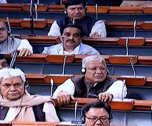 BJP MPs Paresh Rawal, Ram Kripal Yadav, Manoj Sinha and Kiren Rijiju in the Lok Sabha during Parliament's Budget session, in New Delhi on Feb 4, 2019.