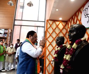 : BJP National President  J.P. Nadda will pay floral tributes to the statues of Pt. Deendayal Upadhyay & Dr. Shyama Prasad Mookerjee on the occasion of BJP's Sthapna Diwas at BJP HQ, 6A DDU Marg, in New Delhi on Tuesday April 06, 2021.