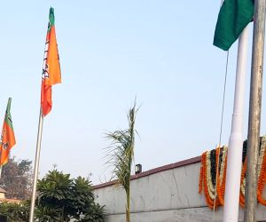 JP Nadda hoists the tricolor on 71st Republic Day at BJP Headquarters