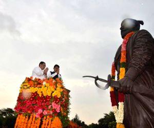 BJP National Working President J.P. Nadda and Maharashtra Chief Minister Devendra Fadnavis pay tributes to Chhatrapati Shivaji Maharaj, in Mumbai on July 20, 2019.