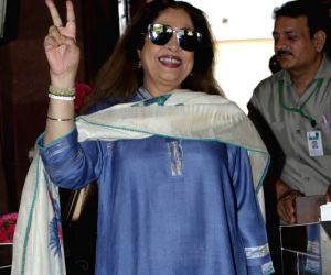 BJP's Kirron Kher arrives at Parliament for the NDA Parliamentary Board meeting, in New Delhi, on May 25, 2019.
