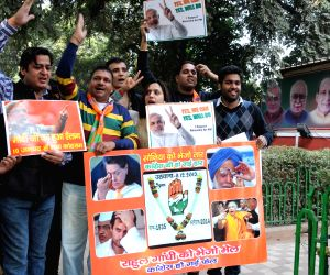 BJP celebrate party's lead in Delhi Assembly elections