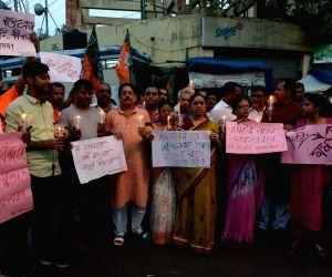 BJP Yuva Morcha demonstration against violence during WB Panchayat Polls