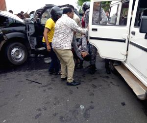 Bodies being retrieved from the vehicle belonging to the security convoy of former Union Minister Hansraj Ahir that met with an accident, killing two persons including a CRPF soldier, at Jam ...