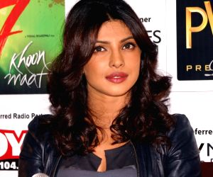 "Bollywood actor Priyanka Chopra at at press meet to promote her film ""Saat Khoon Maaf"" in New Delhi on Tuesday."