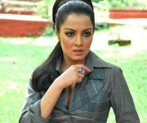 """Bollywood actress Celina Jaitley posing for the shutterbugs at a press meet where she spoke about """"Anti Gay Rights""""."""