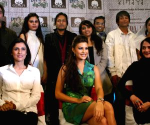 Bollywood actress Jacqeline Fernandez with designer Rina Dhaka and Poonam Bhagat with the finalist for